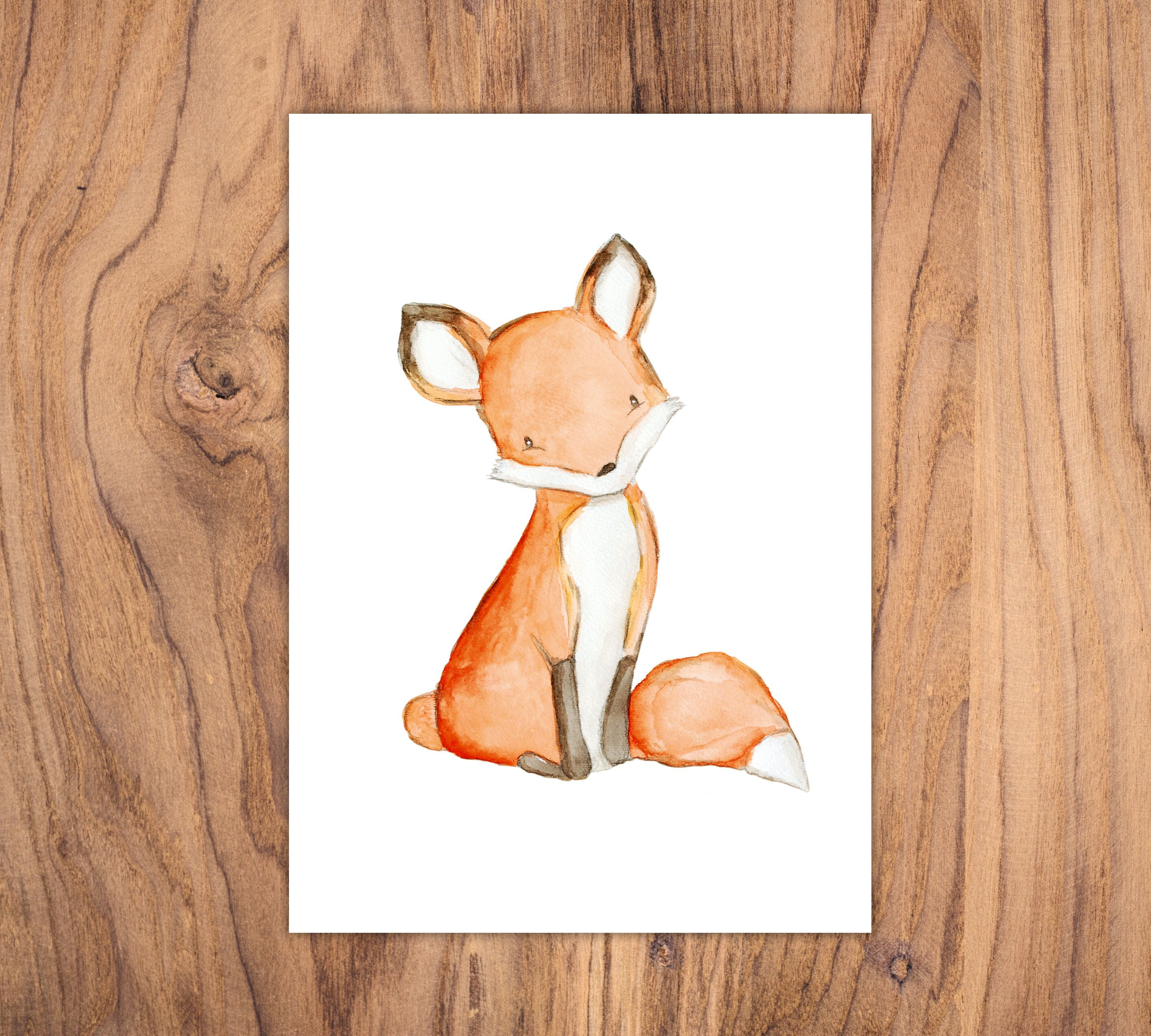 """Kinderbild """"Fuchs"""" Aquarell Poster zum Ausdrucken DIN A4 JPG-Datei als Sofort-Download Kinderzimmer Illustration Waldtier"""