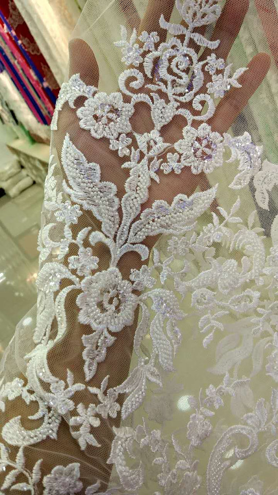 Ivory beaded lace fabric for bridal dress, super delicate lace ...