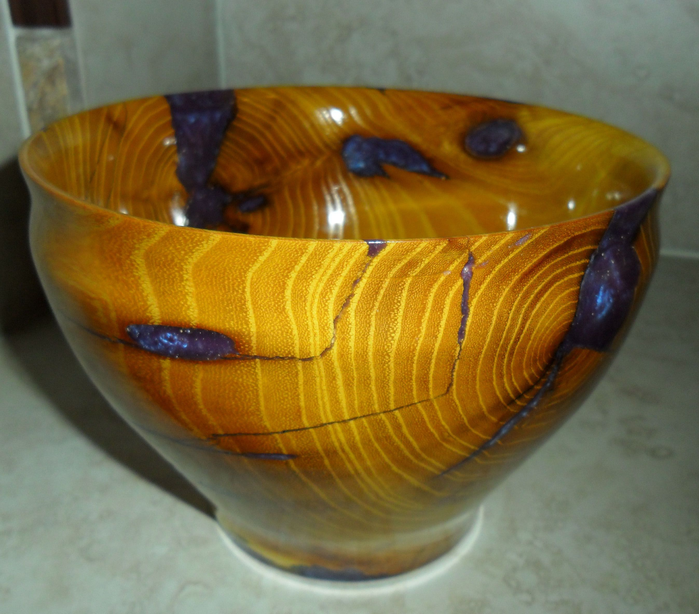 wood bowl with purple resin inlay by Tcavanwoodworks