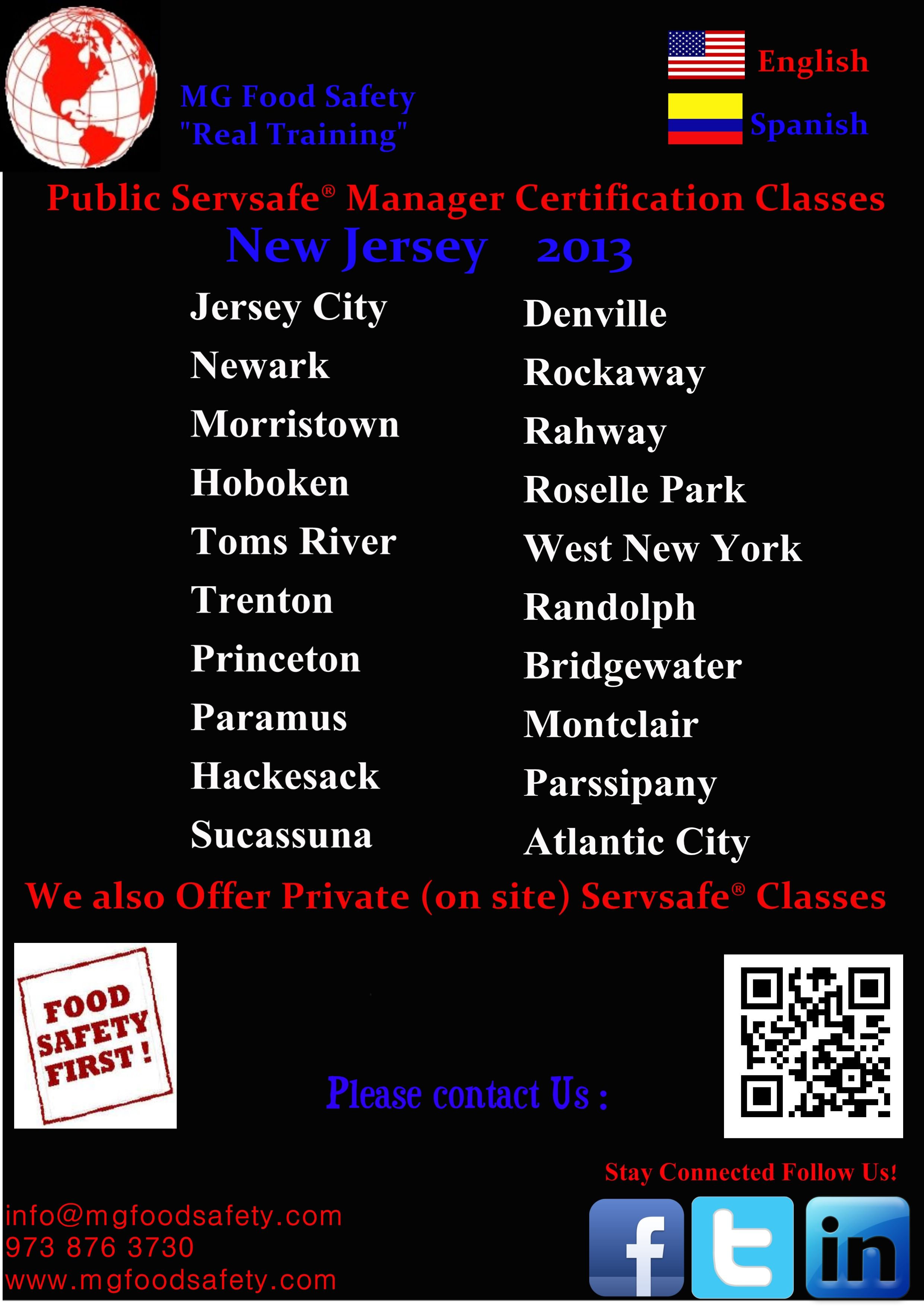 Food Protection Manager Certification Servsafe Nj Classes