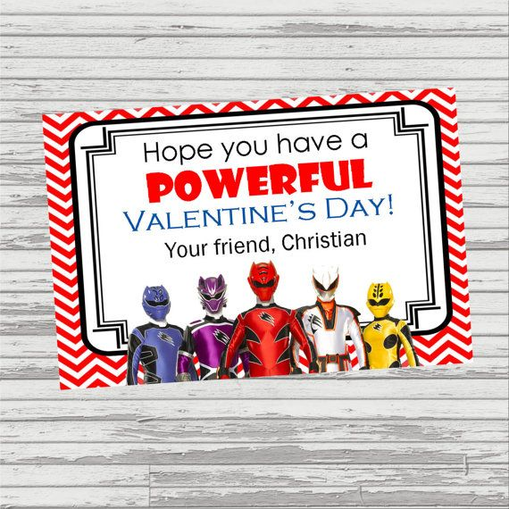 BOY VALENTINE Printable and Personalized Chevron Power Rangers