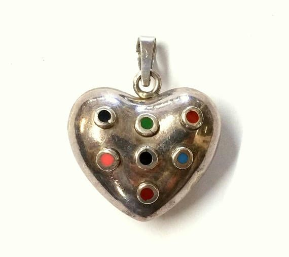 Large puffy heart sterling silver pendant mexico aloadofball Image collections