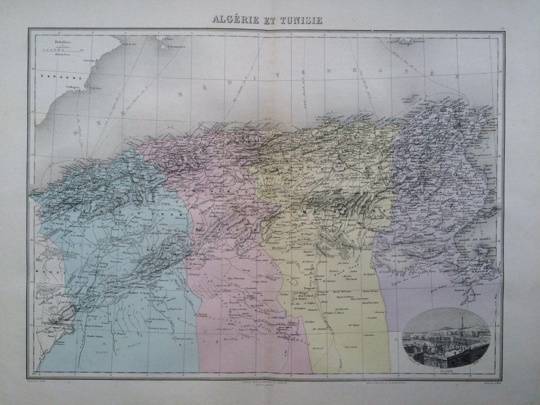 1844 map of Algeria and Tunisia LARGE