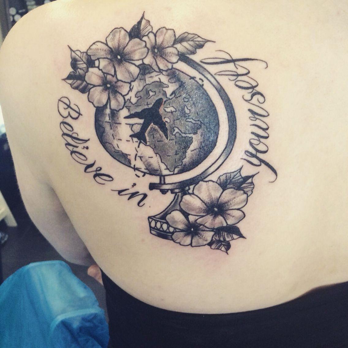 Tattoo travel inked believeinyourself globe cute traditional style i dig tattoos - Tatouage globe terrestre ...