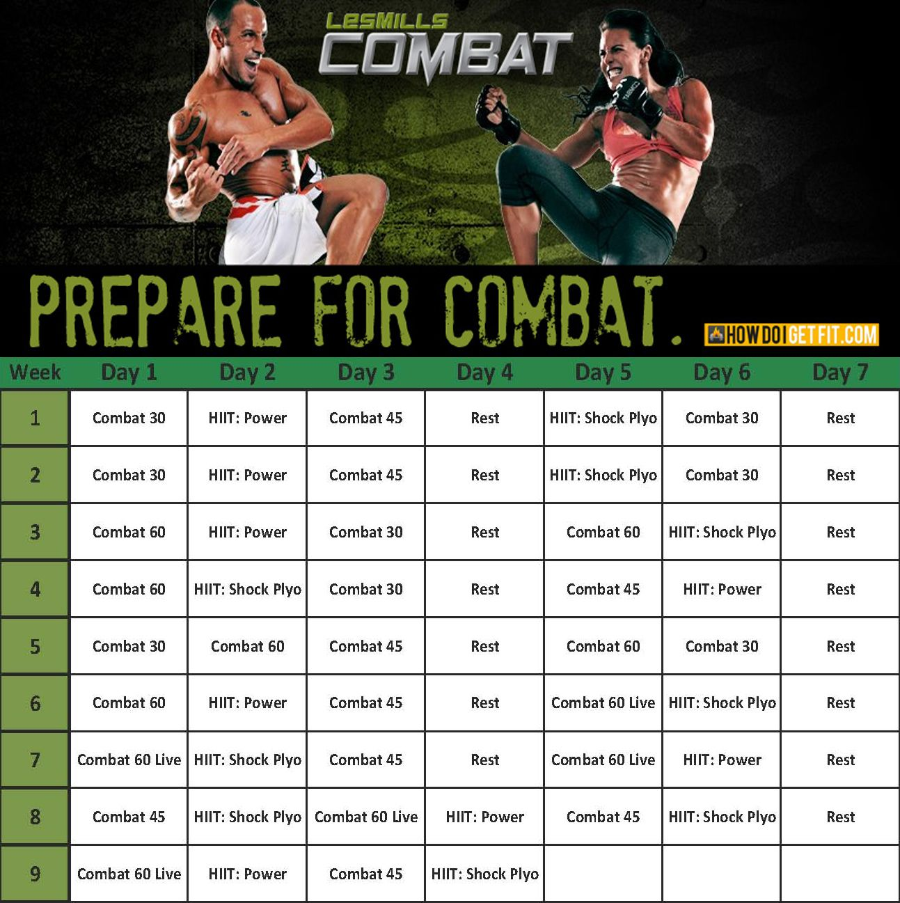 Les Mills Combat Calendar