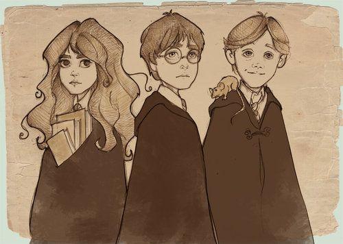Golden Trio Hp Harry Potter Fan Art Harry Potter Drawings