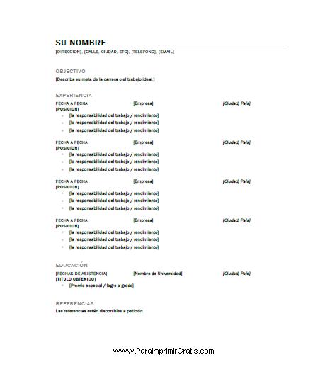 Tag Plantilla De Curriculum Vitae Para Llenar E Imprimir