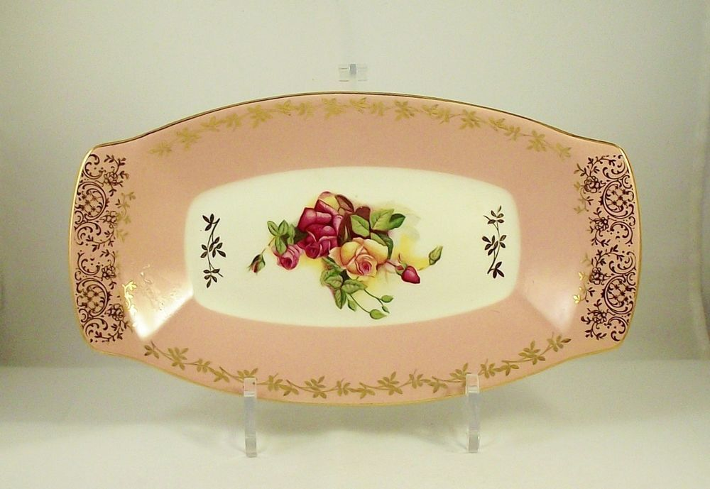 Vintage Figgjo Flint Norway Sandwich or Cake Platter 1950's Pink (1 of 2)