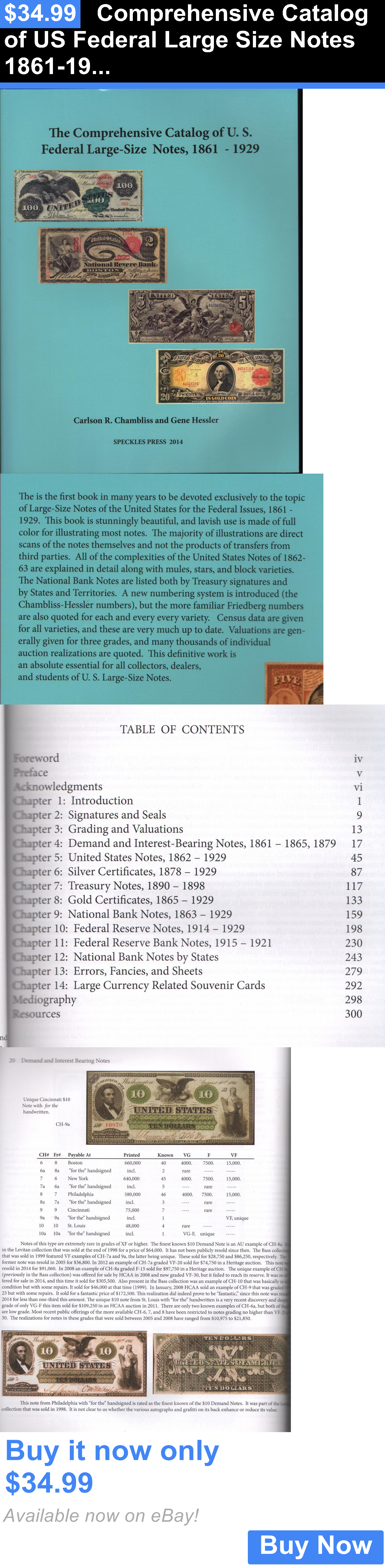 Paper Money: Comprehensive Catalog Of Us Federal Large Size Notes 1861-1929 Free Shipping Usa BUY IT NOW ONLY: $34.99