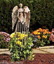 YK Decor Antiqued Weathered Metal Angel Garden Statue Lattice Trellis Yard Art