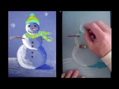 Snowman at Night Using Crayola Construction Paper Crayons
