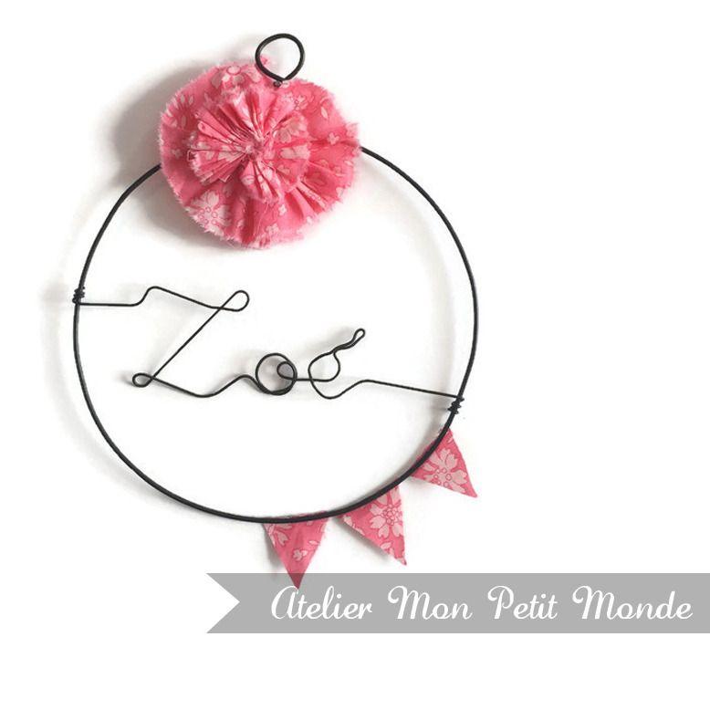 prénom fil de fer - déco chambre bébé liberty capel rose, fleur et