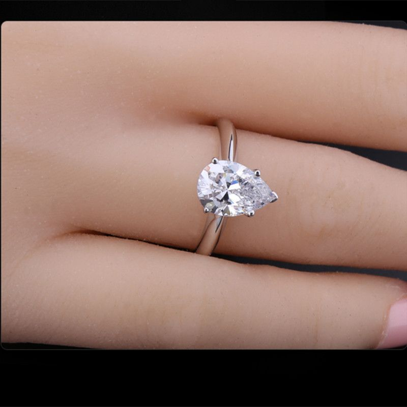2 Carat Pear Shape Diamond Ring Setting Jewelry Silver Platinum Plated Sona Nscd Engagement Synthetic Wedding In Rings From On
