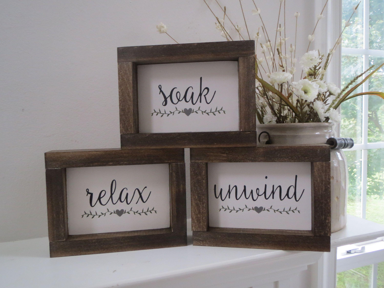 Soak Relax Unwind Bathroom Signs Small Bath Signs Bathroom Decor
