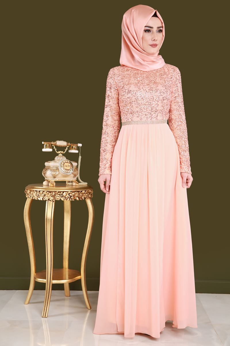 Payetli Tesettur Abiye Somon Urun Kodu Cng2799 89 90 Tl The Dress Elbiseler Abaya Tarzi