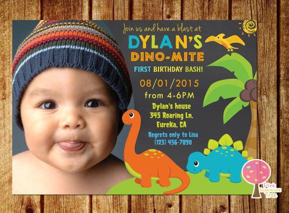Baby Boy First Birthday Party Dinosaur Invitation Dominics 1st