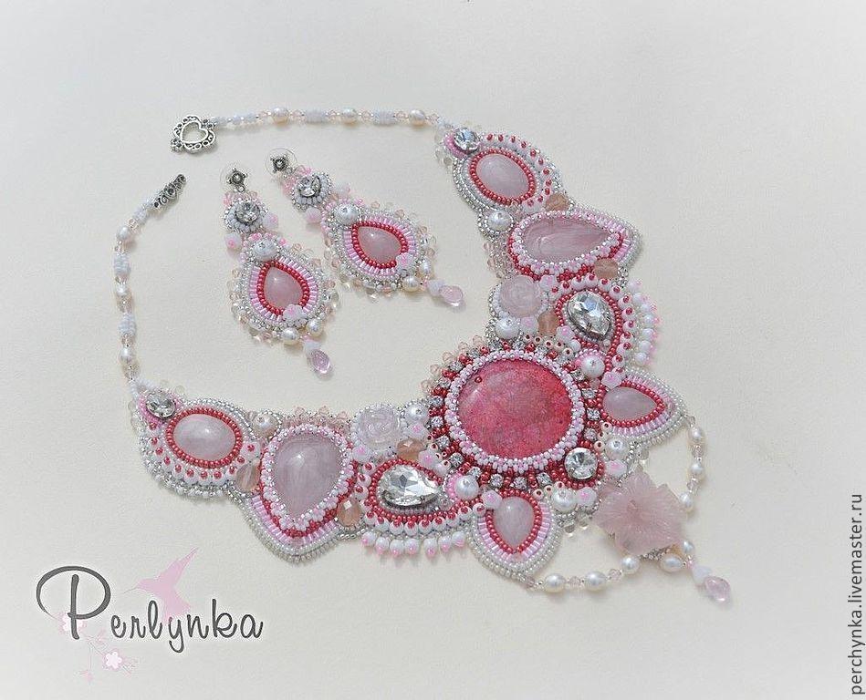 """Купить Комплект """"Розовая мечта"""" - розовый, летнее украшение, комплект украшений, колье с камнями, коралл"""