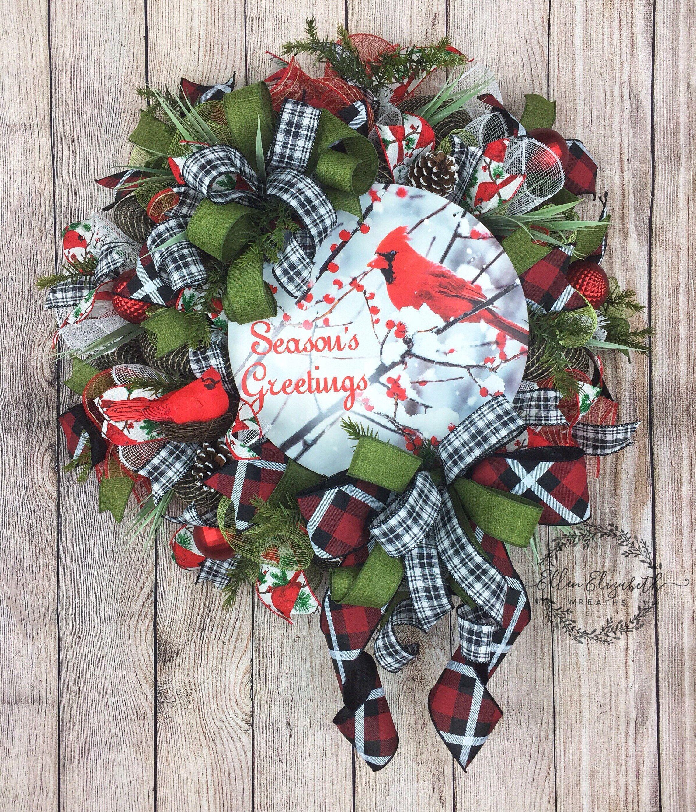 Cardinal Wreath Christmas Wreath Holiday Wreaths Mesh Etsy Christmas Mesh Wreaths Christmas Wreath Craft Christmas Wreaths