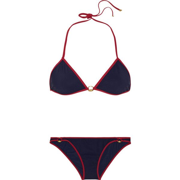 Gucci Two-tone triangle bikini ($275) ❤ liked on Polyvore featuring swimwear ,