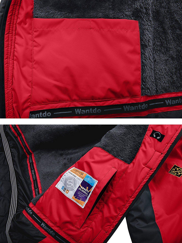 2c186ba3e60 Amazon.com   Wantdo Men s Waterproof Mountain Jacket Fleece Windproof Ski  Jacket US S Black S   Sports   Outdoors