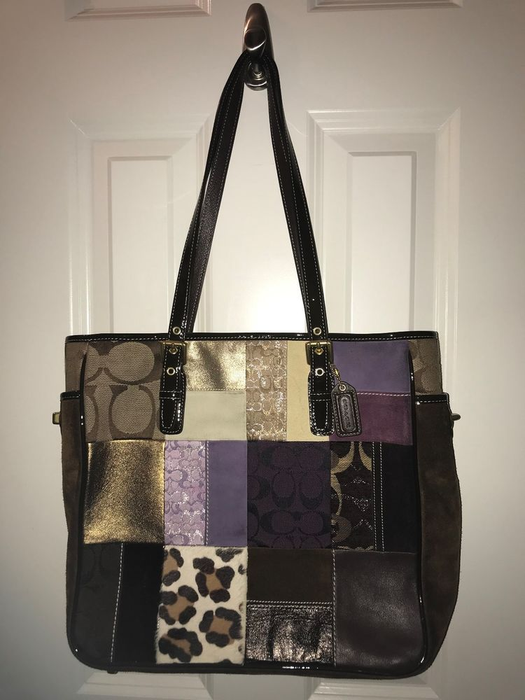 COACH Holiday Patchwork Multicolor Leather Suede Signature Jacquard Tote   398  fashion  clothing  shoes 0dac870d7c4