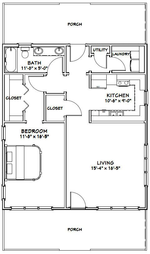 28x32 House 28x32h1 895 Sq Ft Excellent Floor Plans Tiny House Floor Plans House Floor Plans Small House Plans