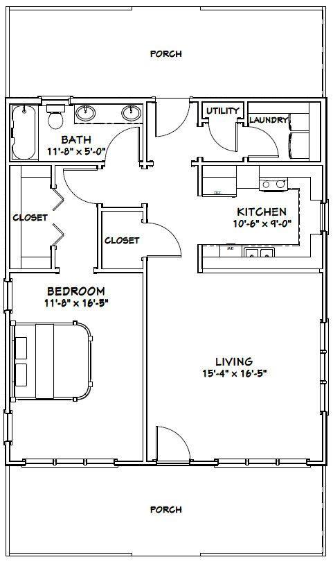 28x32 House 28X32H1 895 Sq Ft