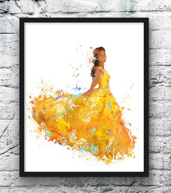 Beauty and the Beast Watercolor Print, Belle, Disney Art, Movie ...
