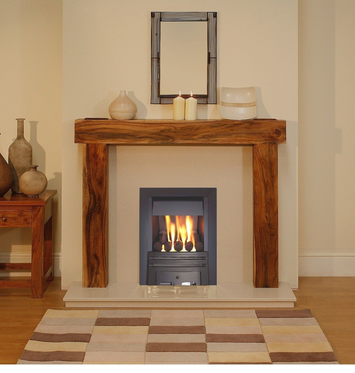 GAS SOLID WOOD ACACIA MANGO FIREPLACE BLACK GAS FIRE SURROUND ...
