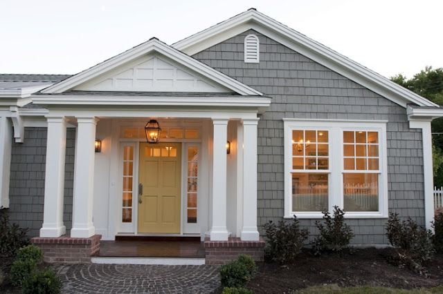 Cape cod home gray shingles yellow door inspiring - Gray house yellow door ...
