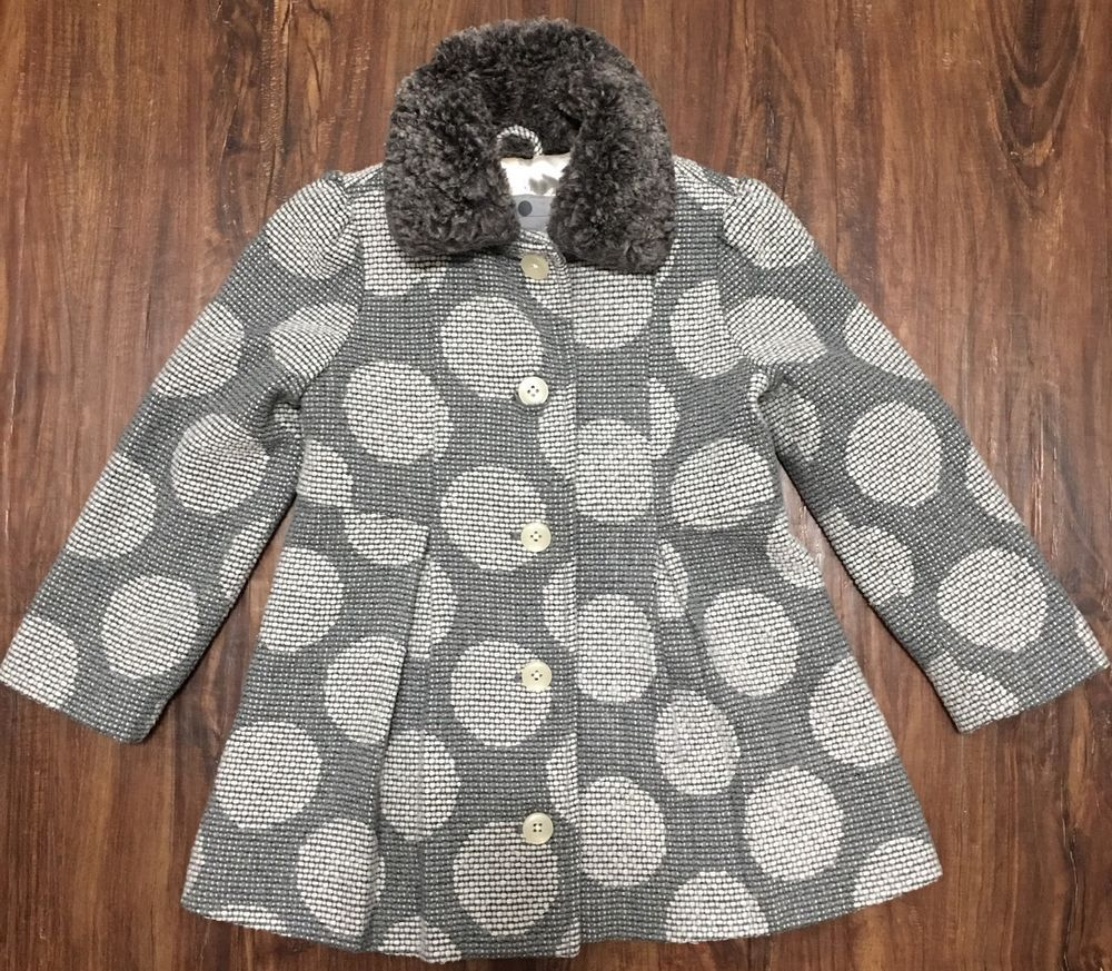 Girls Cherokee Wool Blend Casual Button Up Coat Polka Dots Lined Pleated 4T | eBay