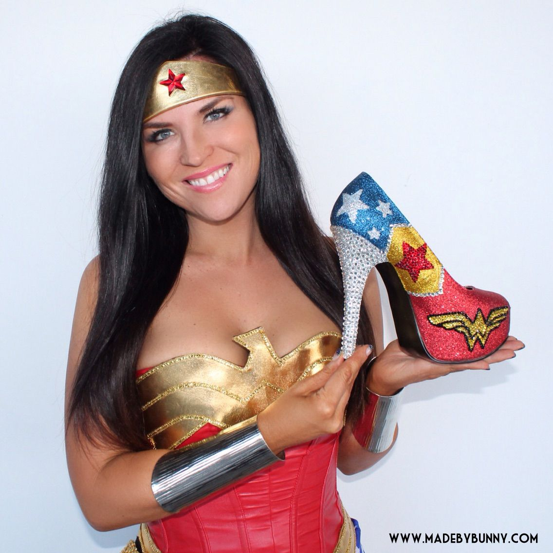 Wonder Woman Pink Cosplay: Sparkly Wonder Woman Comic Book Heels Made With Glitter