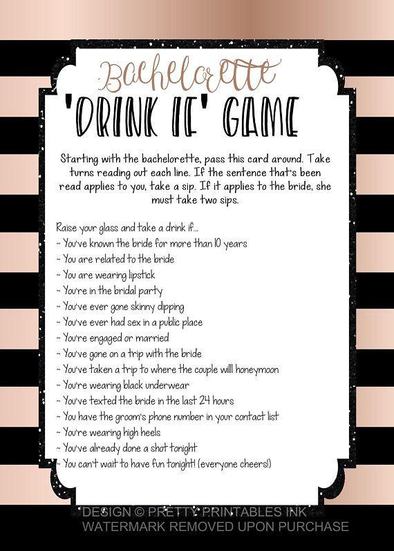 Printable bachelorette game | bachelorette drinking game | bachelorette party game | drink if game | rose gold bachelorette | virtual bach