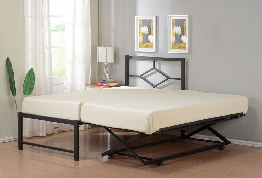Twin Size Metal Hirise Day Bed Daybed Frame With Headboard Pop Up Trundle Daybed Metals