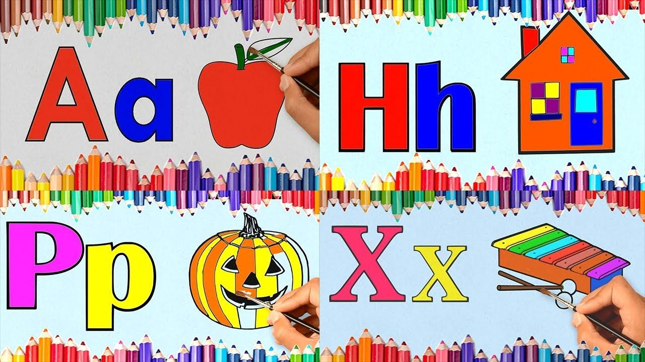 1h11mn Teaching Children To Draw And Color Alphabets Abc Book A To Z C Abc Book Teaching Kids Drawings