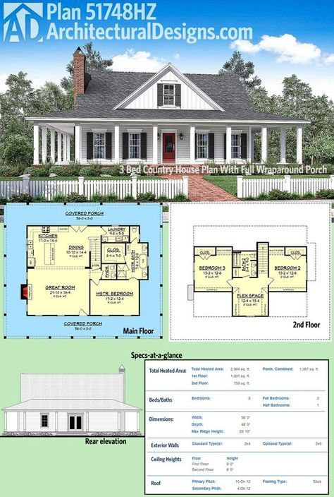 Plan 51748hz 3 Bed Country House Plan With Full Wraparound Porch Architectural Design House Plans Country House Plans Country House Plan
