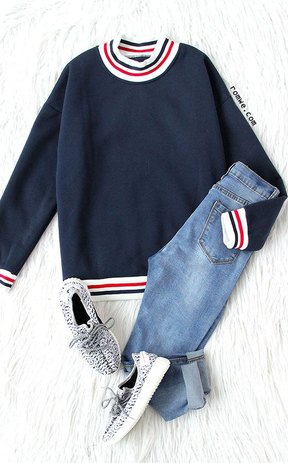 Navy Stripe Trimmed Sweatshirt | Casual outfits, Fashion
