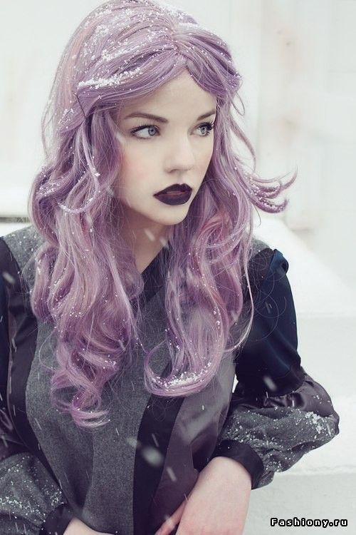 Tumblr  Purple Hair, Dark or Black Lipstick