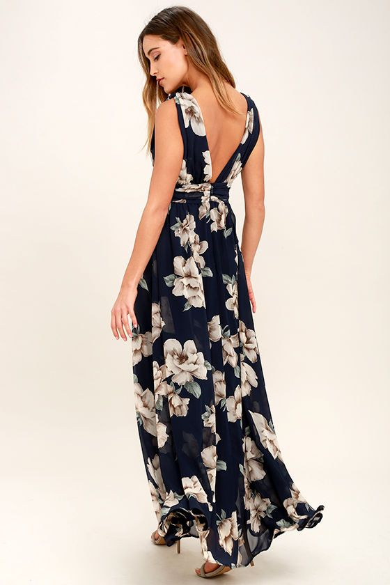 3936425831 Get lost in all the dreamy details of the Garden Meandering Navy Blue  Floral Print Maxi Dress! Chiffon, with a cream, beige, and green floral  print, ...