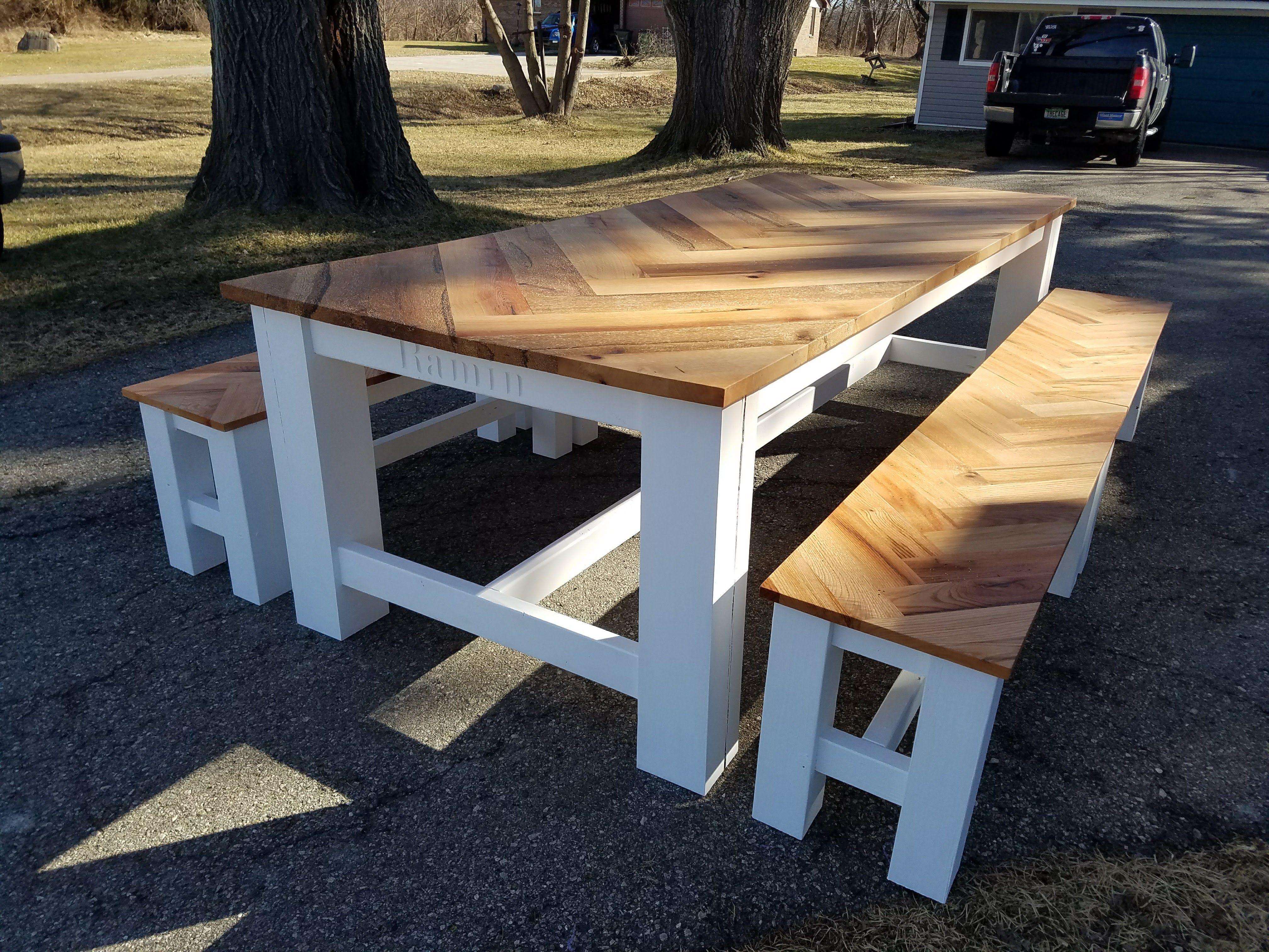 I Built An Oak Herringbone Farmhouse Table With Four Matching - Farm table needham