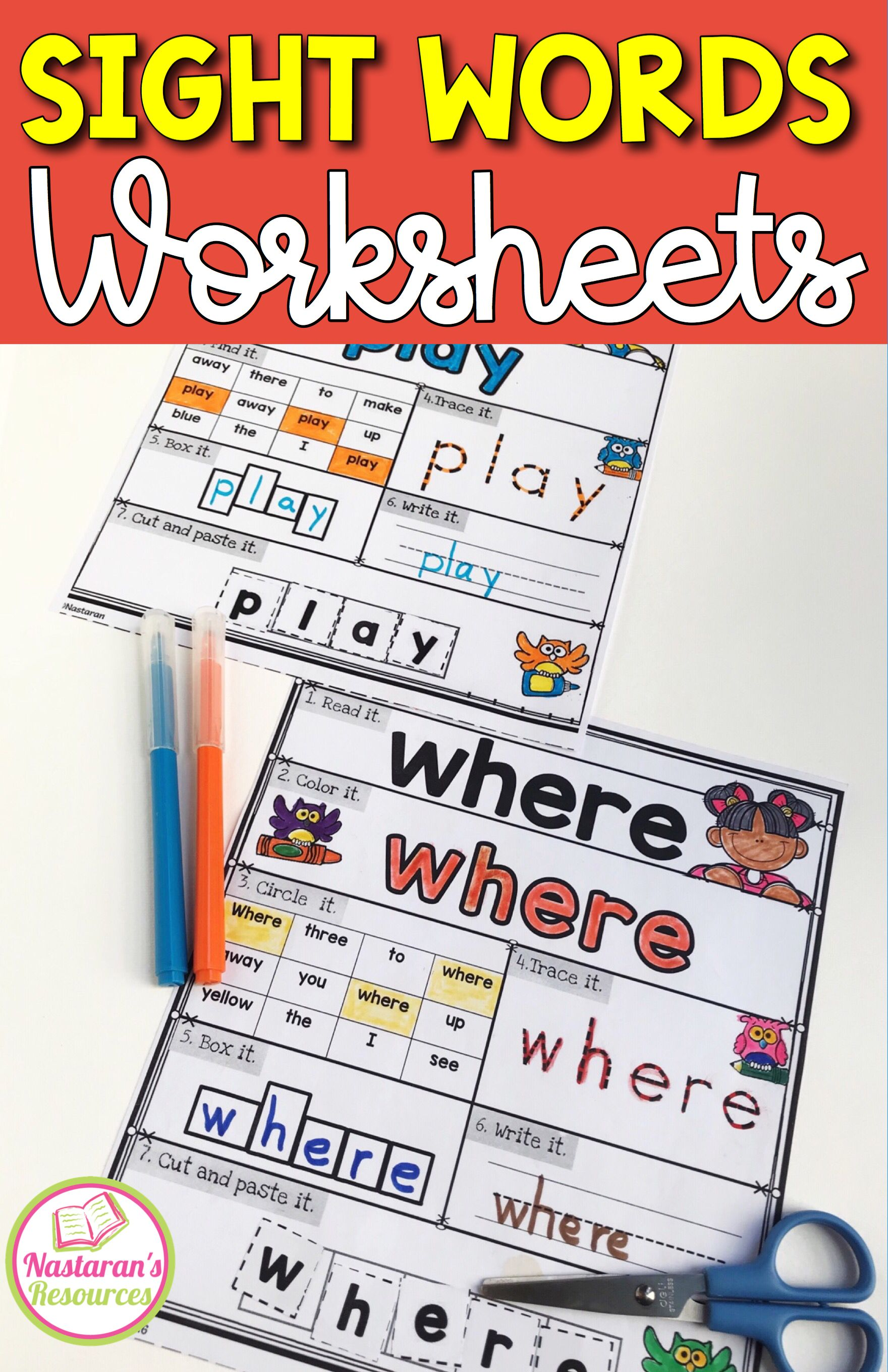 Sight Words Kindergarten Worksheets Assessment