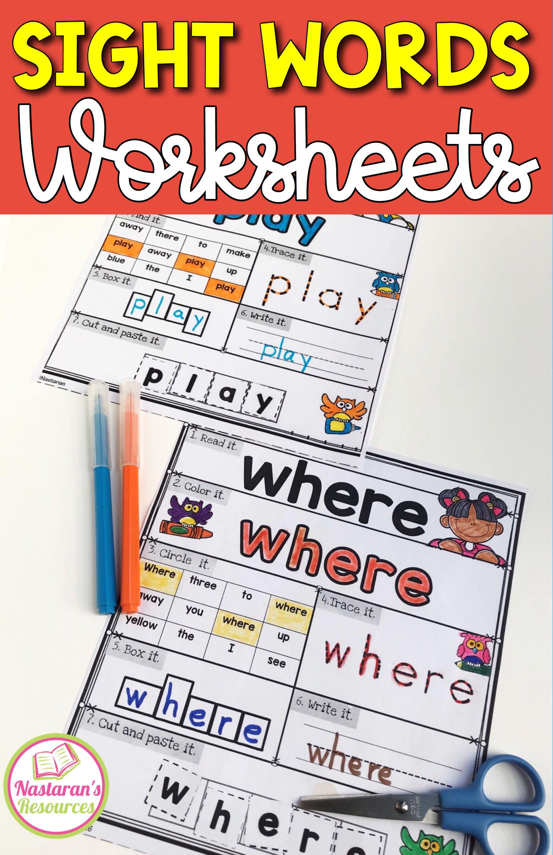 Sight Words Kindergarten Worksheets Assessment
