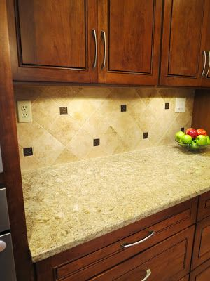 Kitchen Redo · Travertine Backsplash, Metallic Bronze Inserts ...
