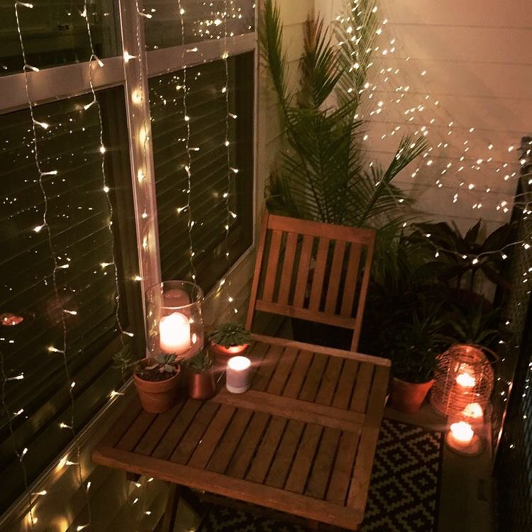 Small Balcony Decor Ideas For An Apartment Hanging String Lights Window Curtain Succulents Desert Plants Candles Lanterns Summer Vibes