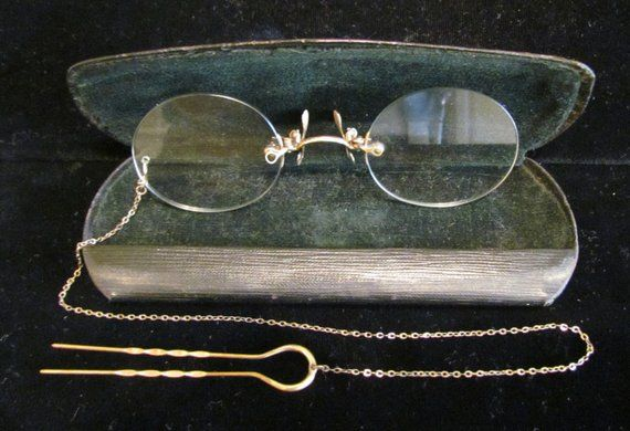 cc39df3dc58b Antique Victorian Pince Nez Eyeglasses Spectacles 12K Gold Filled Chain and  Hairclip Early 1900s Ori