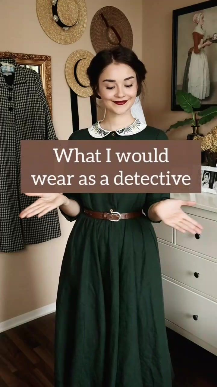 Shirinatra(@shirin.altsohn) on TikTok: What I would wear as a detective 🔎 #vintage #vintagevibes #vintagefashion #sherlock #sherlockholmes #enolaholmes #inspiration #darkacademia