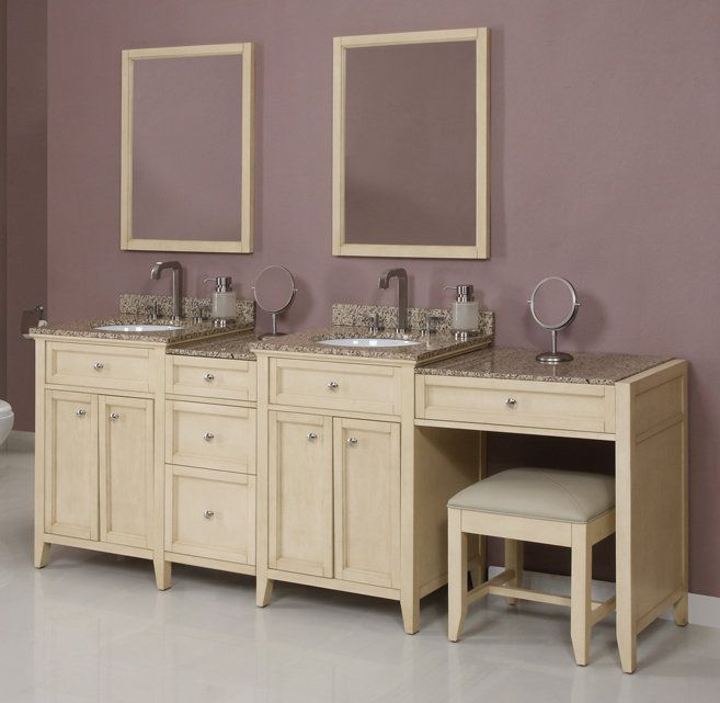 Decolav Jordan 92 5 Awh Antique White 92 1 2 Double Vanity With 3