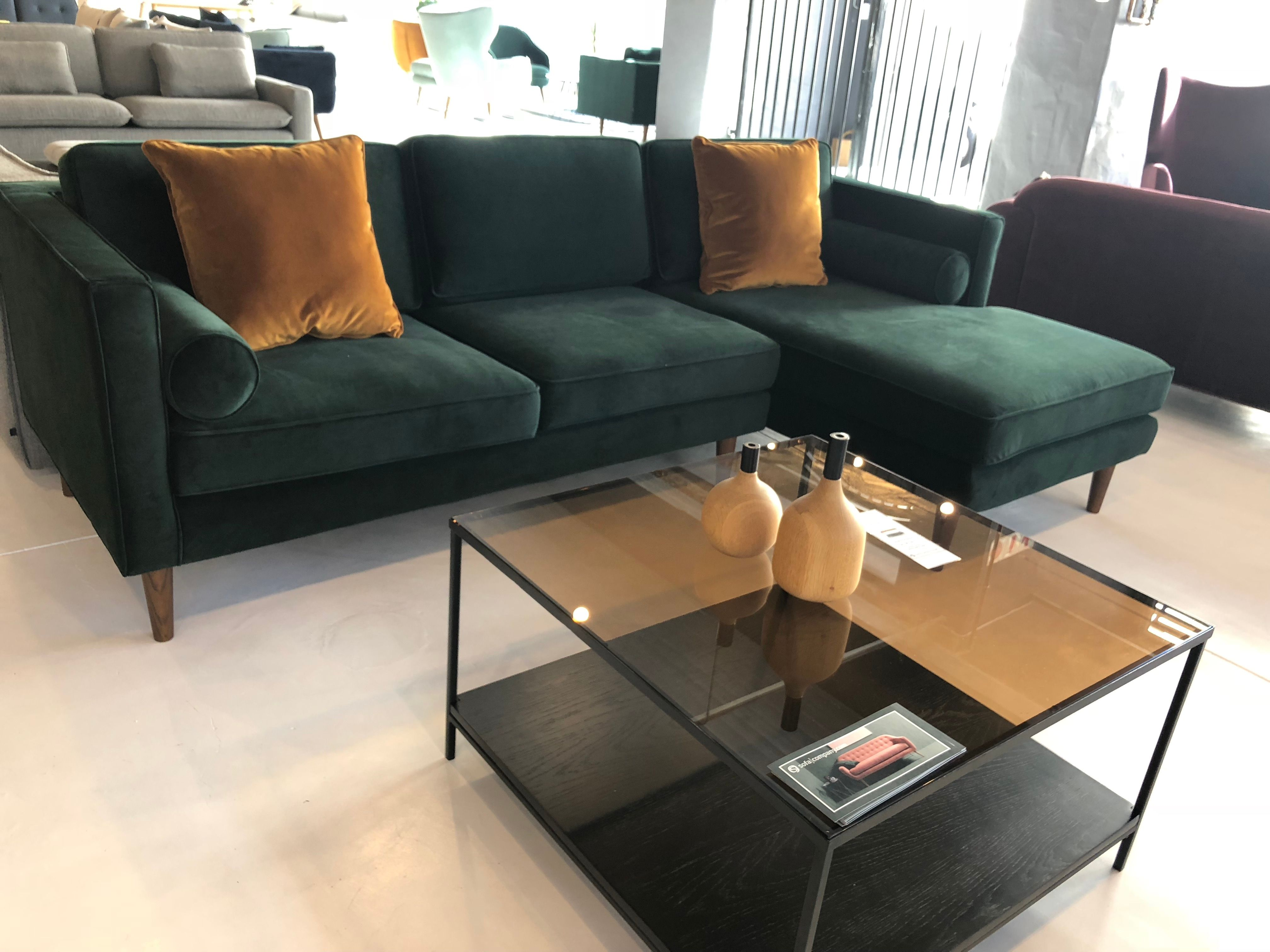 Sofacompany Com Brings You Danish Designed Original Furniture Harper Chaiselong Right Velour Lu Dark Green Living Room Living Room Green Living Room Inspo