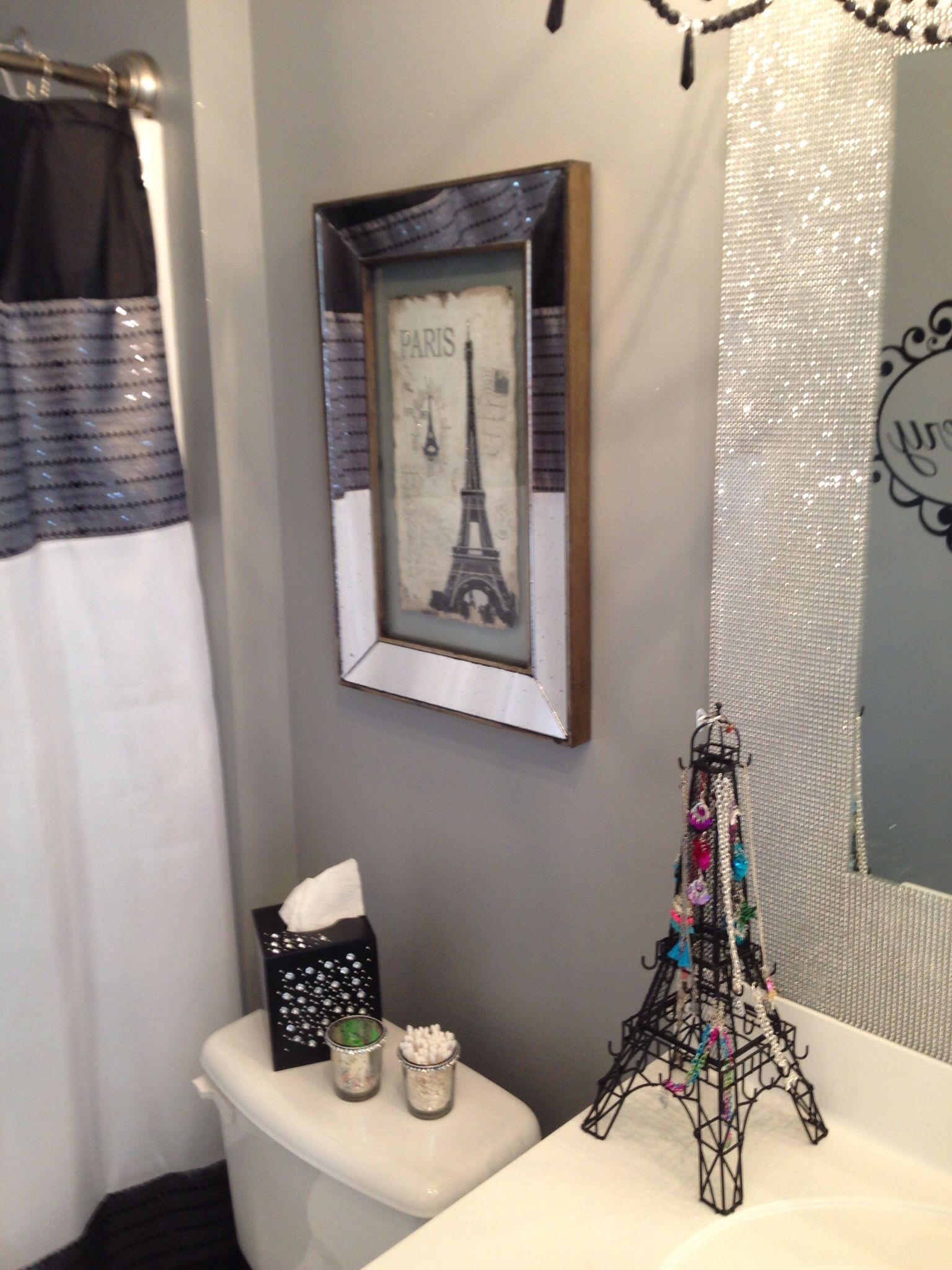 Glitter Painted Walls Valspar Paint With 6 Bags Of Glitter Did My Research And Everyone Said Paris Bathroom Decor Paris Theme Bathroom Paris Themed Bedroom