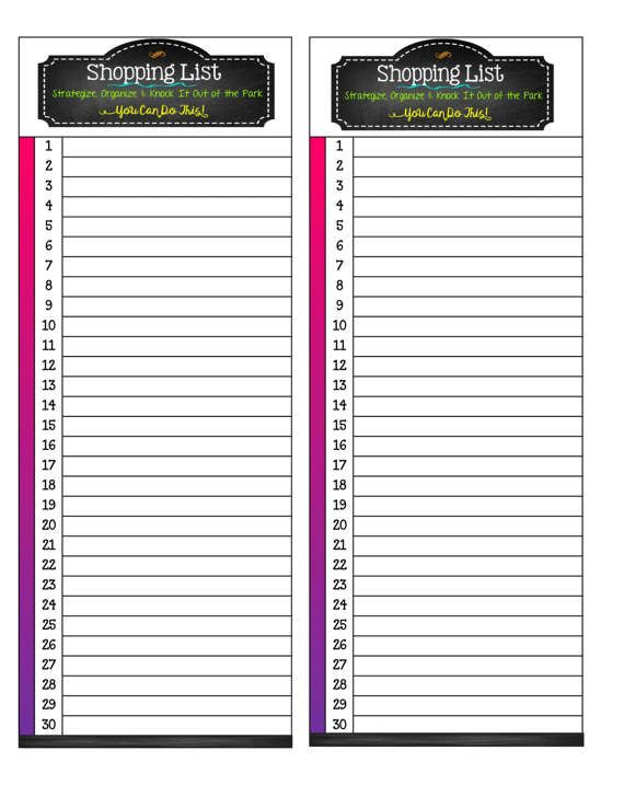 Colorful Pink / Purple PRINTABLE Shopping List / Meal Planner